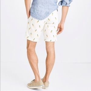 J. Crew | white Gramercy shorts with pineapples